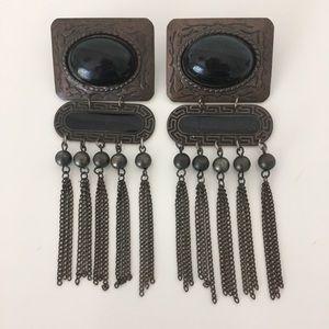 VINTAGE 1980's Black & Bronze Tassle Earrings